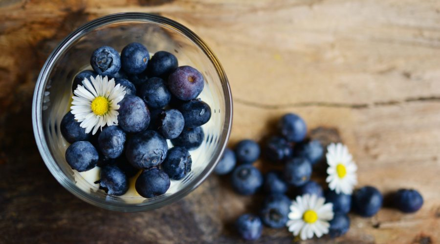 blueberries in a pot
